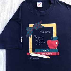 "Vintage Jerzees ""Math/English School"" T-shirt"